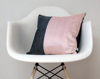 Modern Silk Color Block Pillow Cover in Pastel Pink and Gray by JillianReneDecor | Gift for Her | Home Decor | Feminine