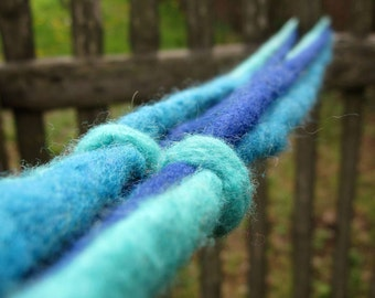 Felted Wool Dreads Felt Rope Cord Strings Blue Navy Teal Turquoise Set of 3 Long Necklace Belt Hair Headband