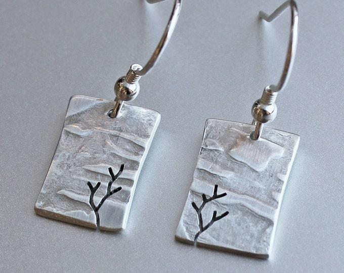 Tree Earrings, Sterling Silver earrings, Silver Jewellery, Jewelry.