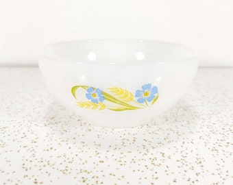 """Vintage Fire King """"Forget me Not"""" Chili Bowl - Soup Bowl - Dura-White Glass with Blue Flowers - 1950's Fire King"""