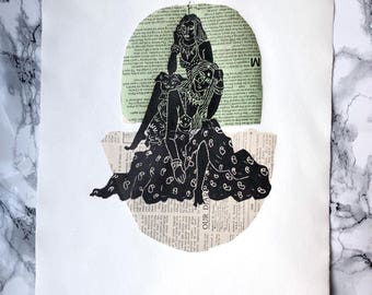 Shalin 1 - Linocut and Chine-collé print