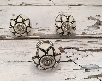 Knobs, Decorative Tomato Pull Craft Supply Knob, Black & White Ceramic Hand Painted Drawer Pulls, Cabinet Supplies, Item #511193359