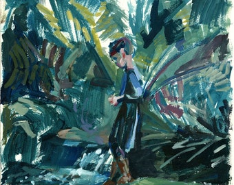 Giclee fine art print - figurative painting of young girl in the gardens - based on original portrait acrylic painting - bold brushwork