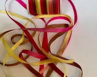 Lemon Chiffon 4mm variegated silk ribbon 3 yards