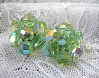 Vintage Cluster Earrings ~ Clip Ons ~ Green AB Crystal Beads