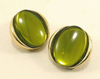 Vintage  olive green clip earrings 80's