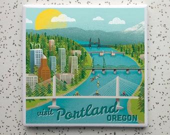 Portland Bridges Tile Coaster