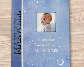 Wish Upon a Star Personalized Memory Book, baby gift, baby shower gift, custom, baby boy, baby girl, love, cute, keepsake -gfyV00019