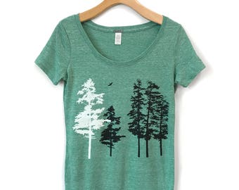 Trees Shirt, Women's Tree t-shirt, womens clothing , Hemlock forest tshirt, womens t shirts, organic clothes, organic nature shirt for her
