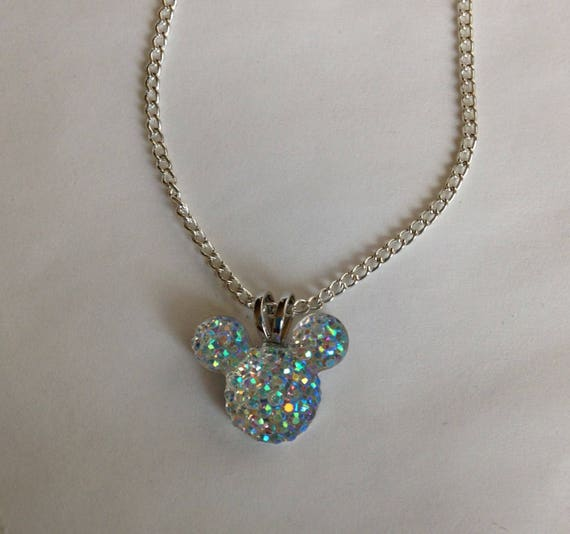 Disney Trip-MOUSE EARS Necklace-Disney Wedding Party-Clear AB Acrylic-Hidden Mickey-Anniversary Gift Cinderella Gift-Tinker Bell Gift