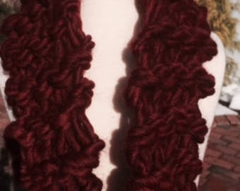 Beautiful hand-knit burgundy cowl