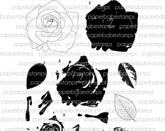 Rose Layers small Stamp Set - Paperbabe Stamps - Clear Photopolymer Stamps - For paper crafting, mixed media and scrapbooking.