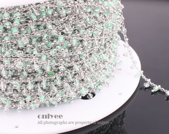 3FT(1yd)- Chain Lacy Green Seed Glass Bead, Rhodium Plated over Brass / 2.6mm(N118S)