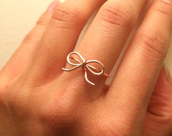Bow Ring -Bridesmaid Tie the Knot Ring 3 4 5 6 7 -14K Gold /Rose Gold-Filled /Sterling Silver -Pink Love Knot -Promise /Girlfriend