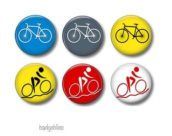 Bicycle pinback button badges or fridge magnets , fridge magnet set