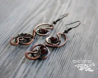 wire wrap earrings, wire work earrings, garnet earrings, copper earrings, wire wrap jewelry, boho earrings, boho style, wire earrings