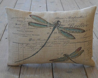 French Dragonfly Burlap Pillow, Shabby Chic Decor, Farmhouse Pillows, B9, INSERT INCLUDED