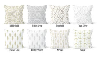 Silver Gold Pillow Cover, Decorative Throw Pillow Covers, Euro Pillow Sham 16 x 16, 18 x 18, 20 x 20, 22 x 22, 24 x 24, 26 x 26