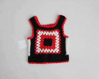 girls 2T 3T vest | 1970s children's clothing | red and black crochet sweater