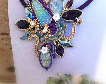 Purple and blue soutache necklace with big medallion, large elegant ceremonial collar, wedding deco necklace, OOAK, STATEMENT JEWELRY