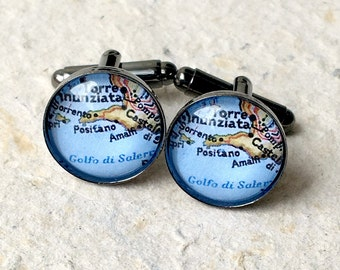 Amalfi Coast Map Cufflinks Cuff Link Set - Featuring Positano and Sorrento Italy - Great Groomsmen Gift for Wedding Party