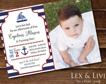 Nautical Photo Invitation First Birthday Nautical Party Boy Birthday Nautical Printable Sailor Nautical Birthday 1st Birthday