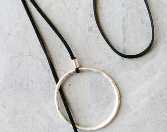 Large Silver Circle Lariat Necklace
