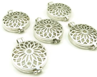 Locket - Silver Plated - Prayer Box - Pendant - Charm - Lotus Flower Filigree - Large Locket - Jewelry Supplies