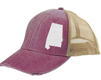 Alabama  Hat - Distressed Snapback Trucker Hat - off-center state pride hat - Pick your colors