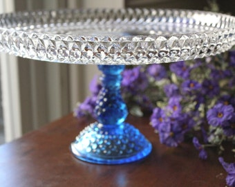 """Vintage Cake Stand in Royal Blue / 12"""" Wedding Glass Cake Stand / Cake Plate / Pedestal for Cupcakes Truffles Macarons / Cobalt Blue -ish"""