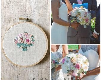 Custom Bridal Bouquet Embroidery Wedding Gift