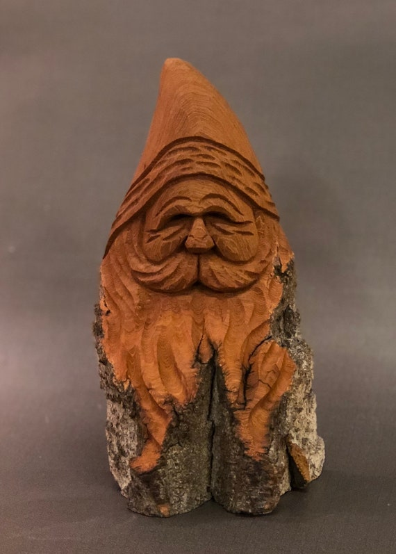 HAND CARVED original Santa bust with natural finish from 100 year old Cottonwood Bark