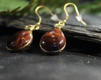 Red Tiger Eye Earrings, Dainty Earrings, Wife Brass Jewelry, Handmade Jewellery, Small Earrings, Everyday Earrings, Minimalist, Natur Stone