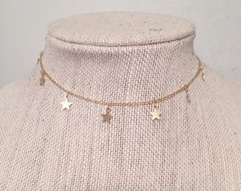 Gold Star Dangle Chain Choker • Gold Star Necklace • Gold Choker Necklace • Gold Plated•Gold Plated Brass • 18 Karat Gold Plated