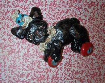 Folk Art French Bulldog Pull Toy Ornament Whimsical Ooak