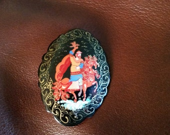 Russian Lacquered Brooch - Rider with Falcon