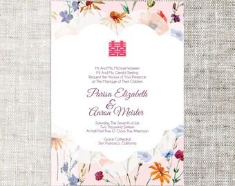 Diy printable chinese wedding korean japan invitation diy printableeditable chinese wedding invitation card template instant downloadpastel elegant floral background stopboris Images