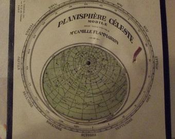 Ancienne Gravure Quillet à Système 1910 Planisphère Céleste Mobile à système