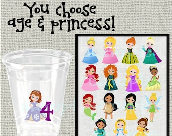 24 vinyl age decals princess clear sticker decals party first Birthday party decoration age decal birthday party vinyl cup sticker party cup