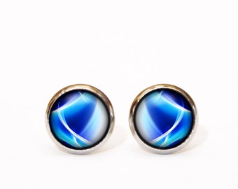 Blue Stud Earrings Glass jewelry Handmade wedding earrings of stainless steel with Boho glass eco earrings bridesmaids Gifts idea for her