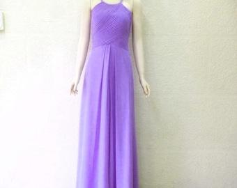 Lilac Maxi Dress. Lilac Prom bridesmaid Dress. Chiffon Floor Length Dress.