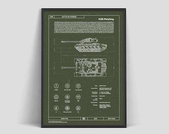 Tank M26 Pershing | USA | Tank Patent | Military Poster | World of Tanks | Poster Print | Soldier Art | World War 2 | Blueprint | Warthunder