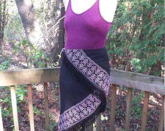Wrap Skirt - Purple and Black - Cross Stitch Border - Fringed Skirt - Asymmetrical Hem - Swing Skirt - Upcycled Fashion - Altered Chic