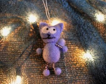 Needle felted wool cat animal