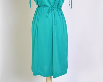 Vintage 1970s Disco Dress 70s Teal Ruched Disco Dress Cap Sleeve Slinky Dress S
