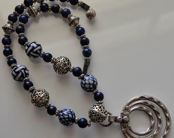 Lapis Lazuli Necklace - Hilltribe Silver Pendant