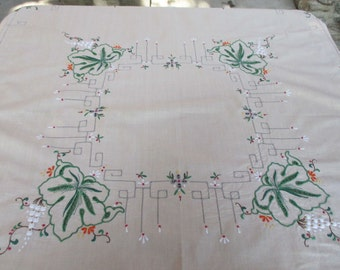 Vintage beige cotton tablecloth with embroidery - leaves flowers holiday X-mas