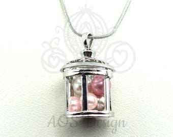 Pick A Pearl Cage Silver Plated Lantern Fairy Cage Tink Star Light Locket Charm Multiple Pearl Holder Peter Pan