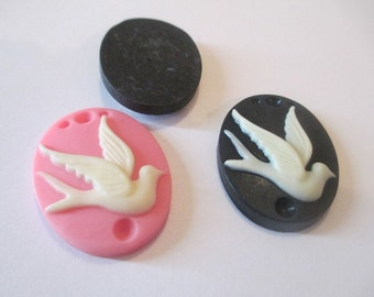 6 Large Flatback Bird Resins