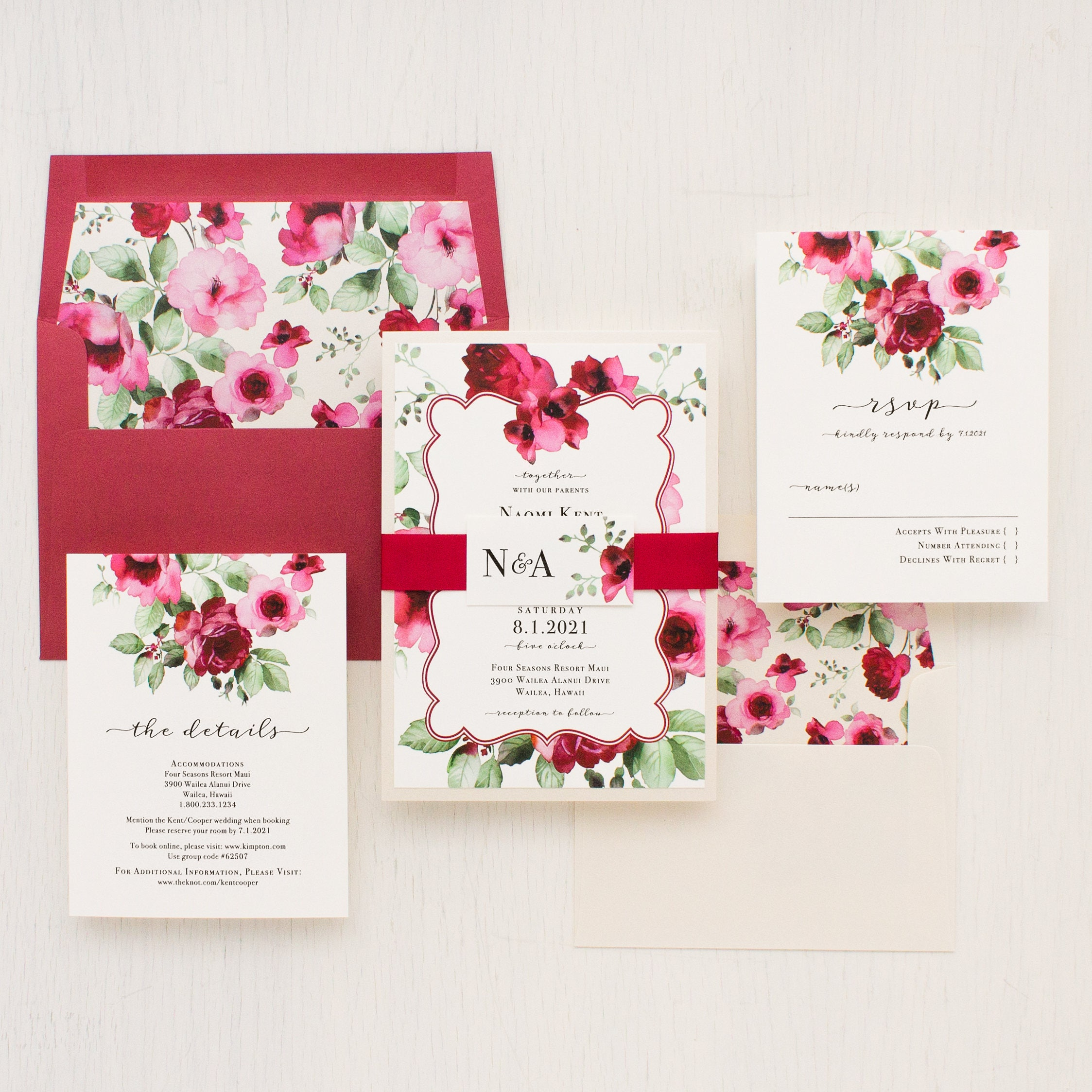 Floral Classic Wedding Invitations Garden Ivory Red
